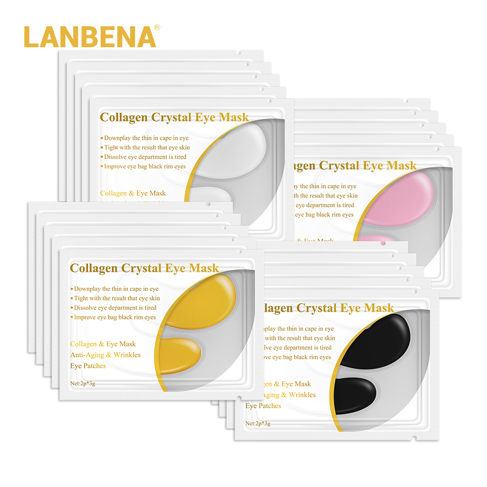 LANBENA 24K Gold Eye Mask Collagen Eye Patches Dark Circle Puffiness Eye Bag Anti-Aging Wrinkle Firming Skin Care