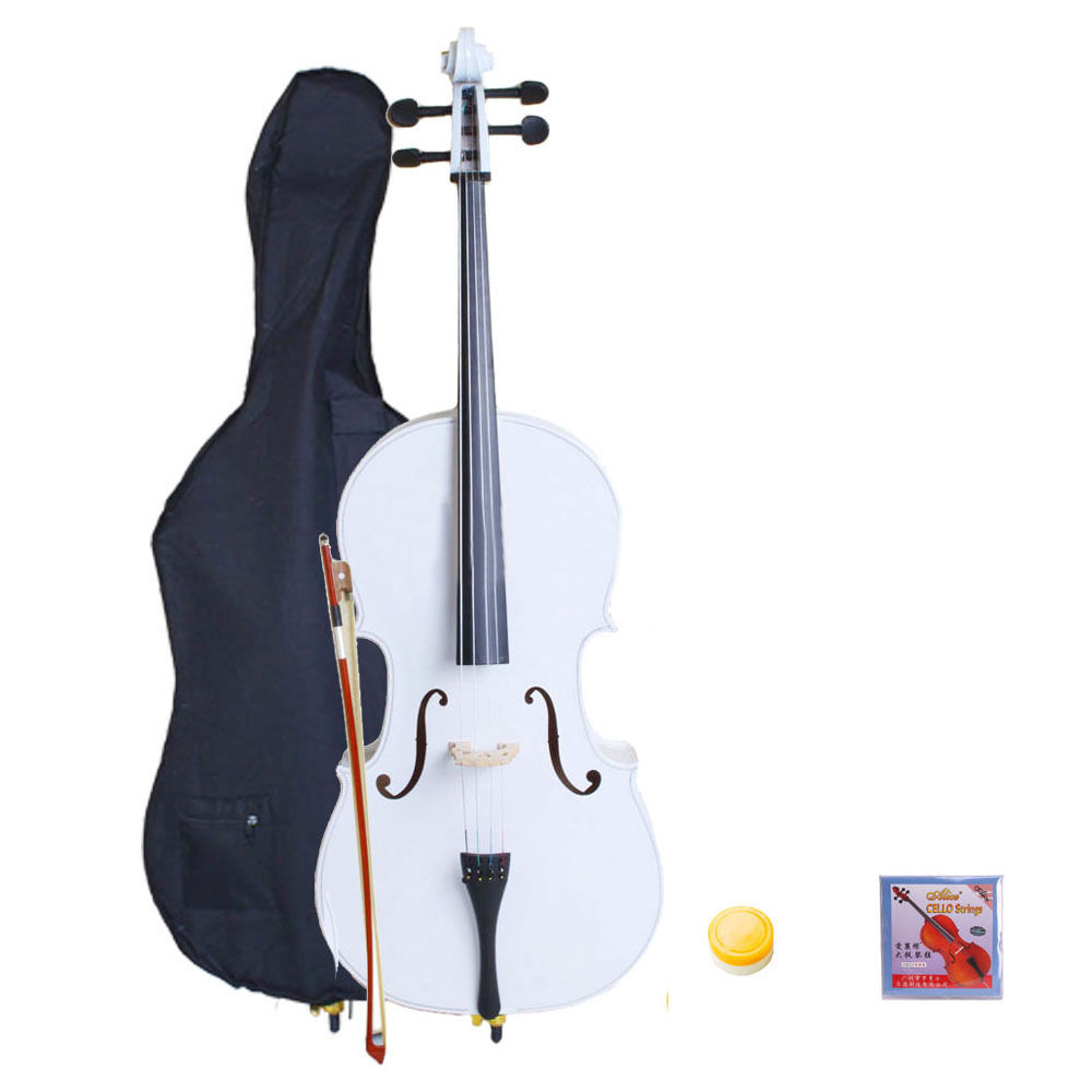 New 4/4 Full Size White Color Wood Cello with Case Bow Rosin Bag + Extra Strings