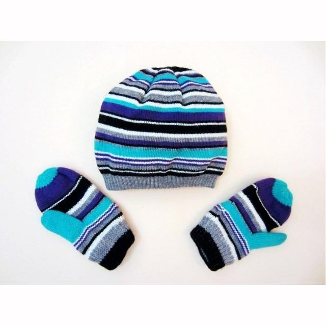 394c47fc229 Bébé chapeau gant ensembles bébé bleu dépouillé bonnets coton tricot fait  hiver enfants chapeaux bébé garçon