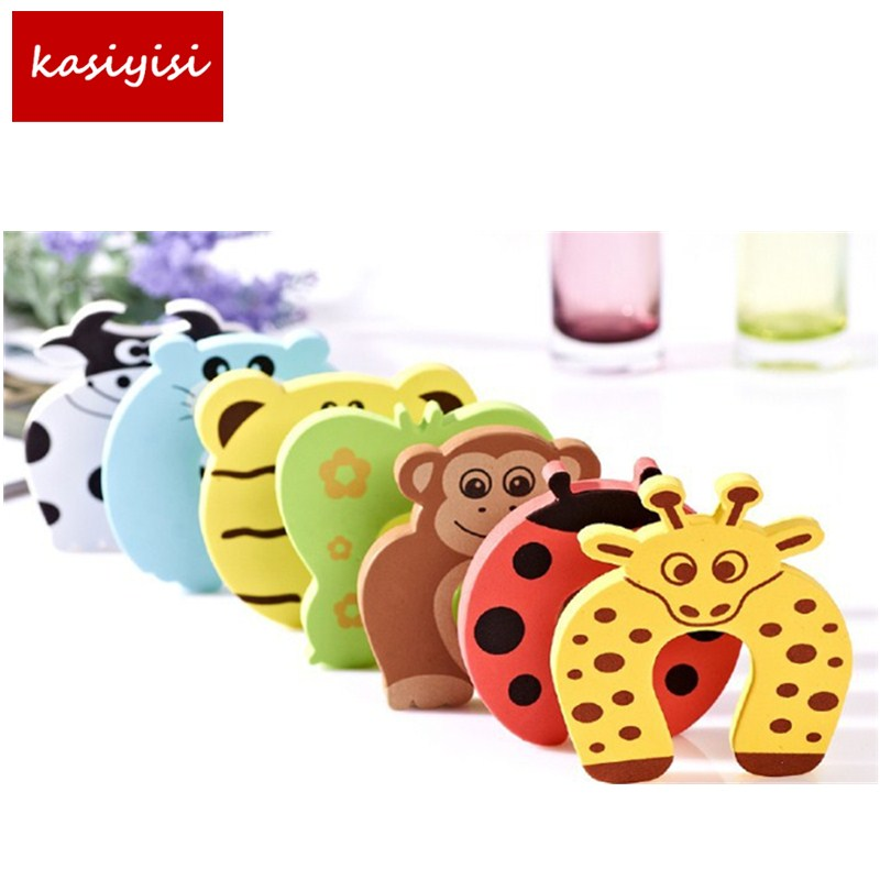 10pcs/lot Kids Baby Cartoon Animal Jammers Stop Edge Corner Guards Door Stopper Holder Lock Baby Safety Finger Protector