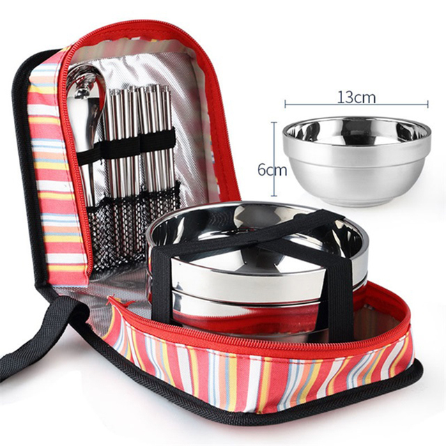 Tri-polar Stainless Steel Dinnerware Bowls Fork Spoons Chopsticks Tableware Set with Storage Bag for Camping Picnic Kitchen