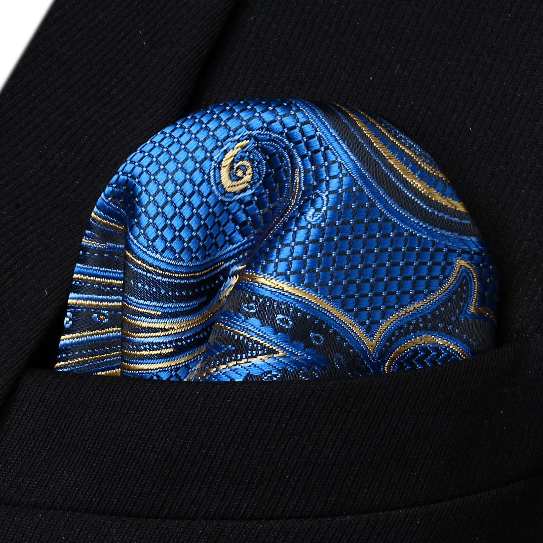 HP936B Blue Yellow Paisley Men Silk Party Handkerchief Pocket Square Hanky
