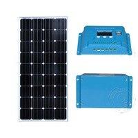12v 150w Solar Panel Battery Controler12v/24v 10A Motorhome Caravan Chargeur Solaire Car LED Light Lamp Pour Maison