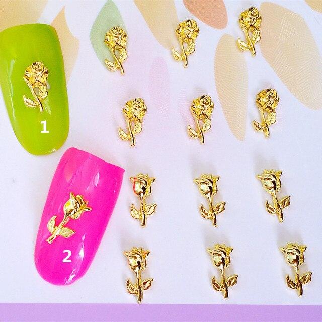 10pcs/bag Japan New 3D Nail Art Decoration Metal Nail Sticker Gold ...