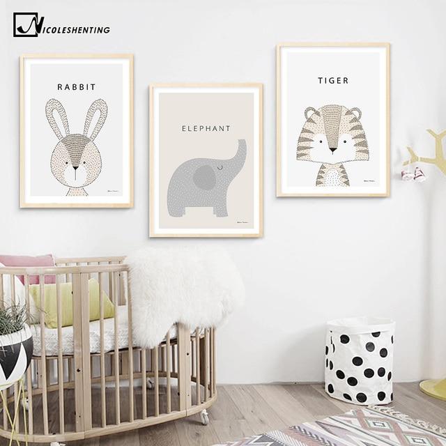 Kawaii Cartoon Rabbit Tiger Giraffe Animal Posters And Prints Canvas Art Painting Wall Nursery Picture