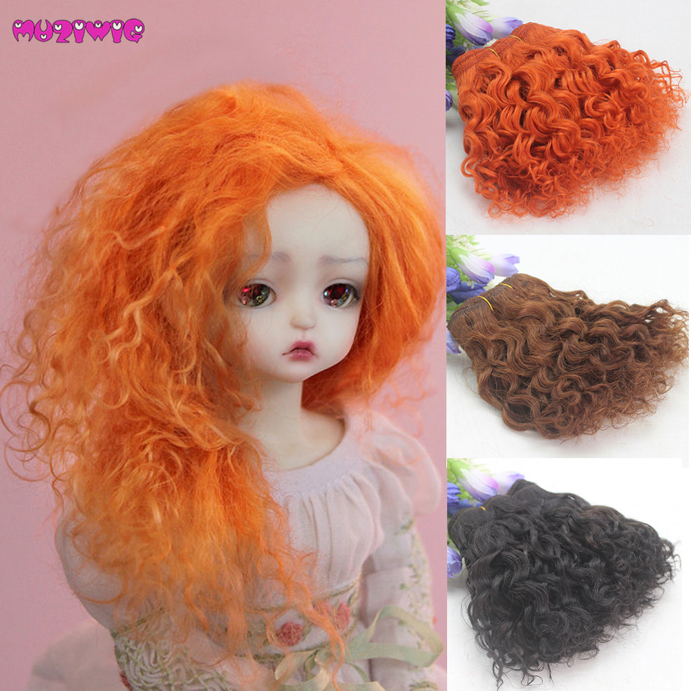 New 25cm Long Curly Haircut Doll Wig for Dolls DIY Making Accessory Orange