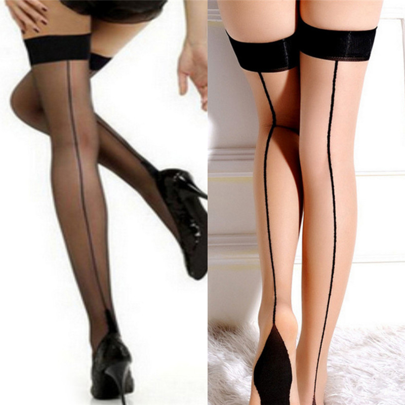 Women's Nylon Stockings Sexy Perspective Striped Stockings Lady Thigh High Pantyhose Long Stocking