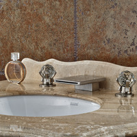 Wholesale And Retail Modern Waterfall Spout Bathroom Basin Faucet Crystal Handles Vanity Sink Mixer Tap Deck Mounted
