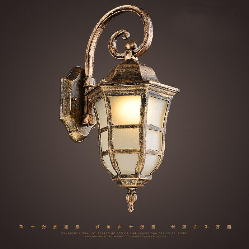 Américain vintage bronze aluminium étanche extérieur applique murale lampe européenne rétro marbre verre E27 LED ampoule applique murale
