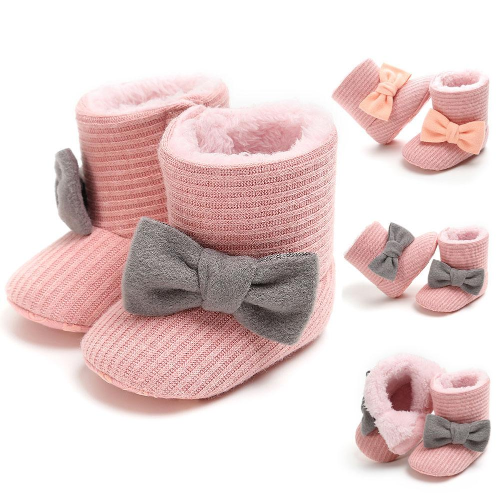 Fashion Infant Baby Girl Winter Warm Snow Bowknot Anti-slip Prewalker Toddler Shoes Boot