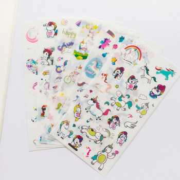 6 Sheets /Pack Cute Unicorn Adhensive Stickers Notebook Album DIY Decoration Stick Label Kids Stationery J08 - discount item  25% OFF Stationery Sticker