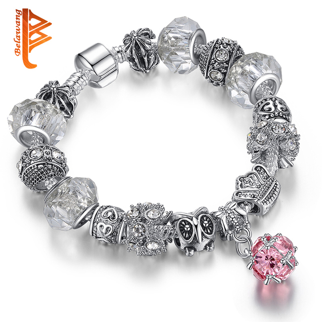 Women Original DIY Jewelry European Authentic BEADS jewelry silver plated owl beads pink/white crystal Charm bracelets