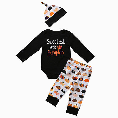 2017 Autumn Halloween Pumpkin Baby Clothes Newborn Infant Boy Girl Long Sleeve Romper Tops Leggings Pants Hat Outfit 2pcs 2017 hot newborn infant baby boy girl clothes love heart bodysuit romper pant hat 3pcs outfit autumn suit clothing set