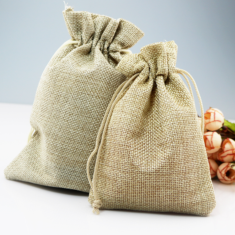 100pcs 13x18cm Natural Jute Bags Drawstring wedding decoration Jewelry Packaging Bags Pouches burlap Candy Gift Bag