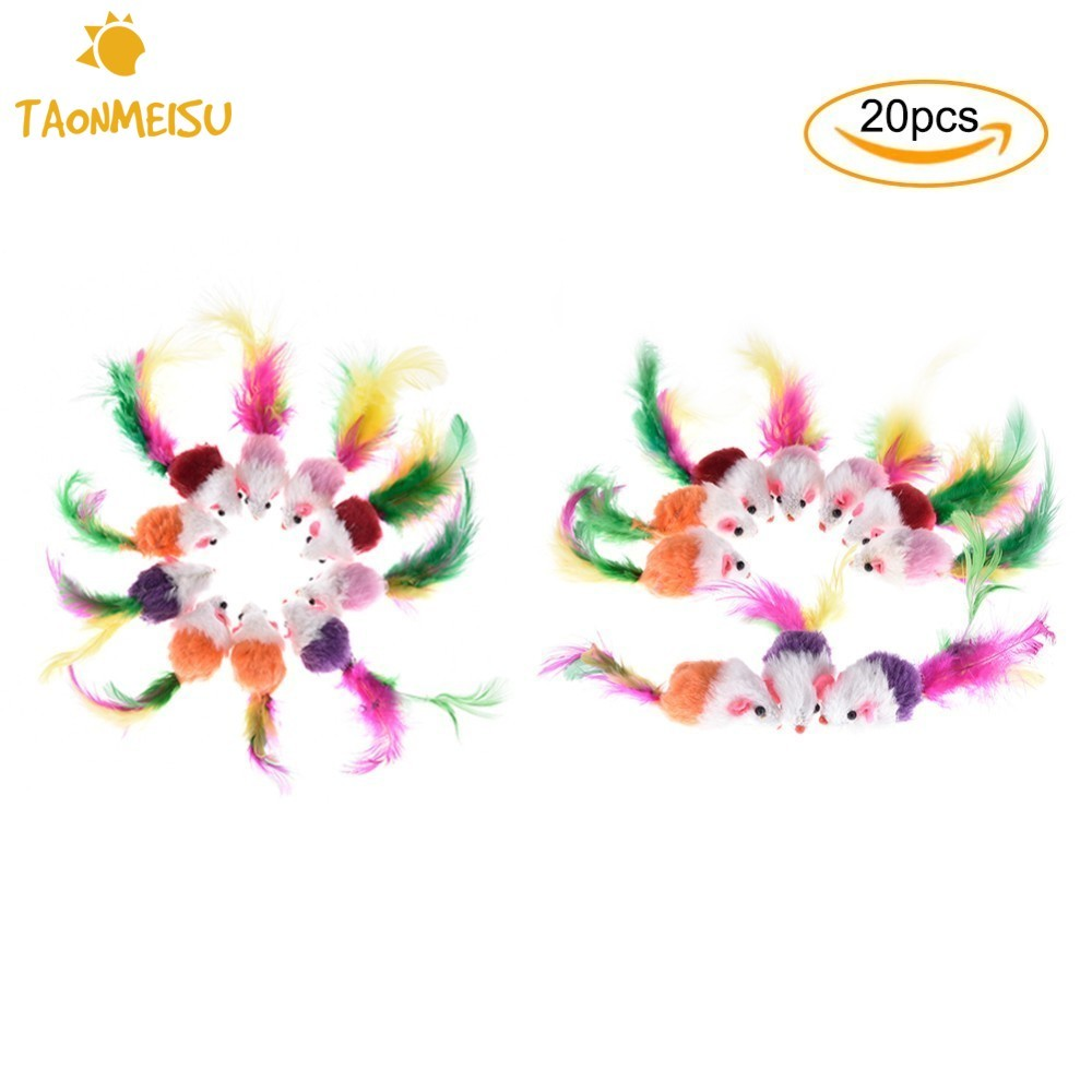 Wholesale 20pcs Pet Cat Toy Simulation Fluff Mouse Toys Mixed Color Sound Chew Play Mice for small large pet interactive