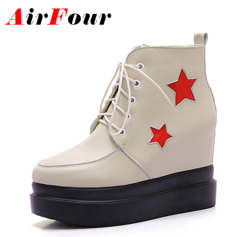 ФОТО Airfour New 3 Colors White Shoes Ankle Boots for Women High Heels Lace-up Spring Autumn & Winter Round Toe Boots Shoes Woman