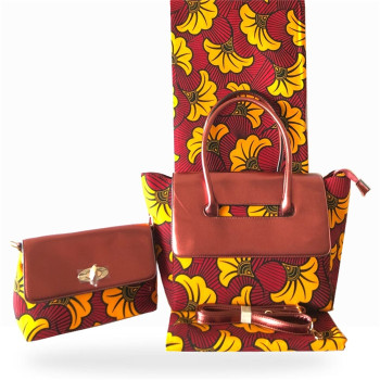 3pcs/set Beautiful lady African batik veritable wax fabric (6yards/lot) matching wax handbag and purse set for lady FB9-3