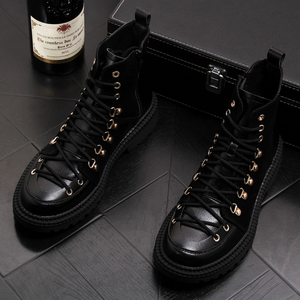 Image 2 - British style mens genuine leather boots party nightclub dress black ankle booties lace up cowboy platform shoes sapatos hombre