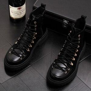 Image 2 - Estilo britânico homens couro genuíno botas vestido de festa boate sapatos de plataforma preto botas de tornozelo lace up cowboy sapatos hombre