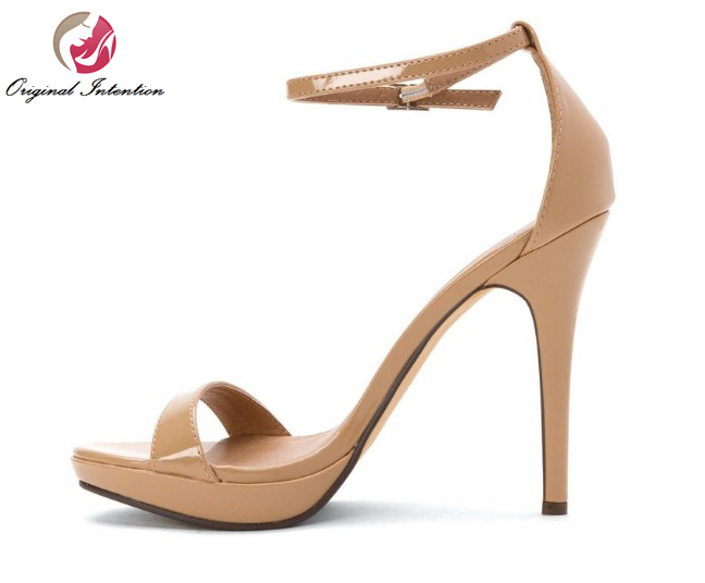 Original Intention Elegant Women Sandals Sexy Peep Toe Thin Heels Sandals Black White Nude Pink Shoes Woman Plus Size 4-15 hot selling sexy sloid thin heels sandals woman new desig lace red white black sandals peep toe elegant for women free sipping