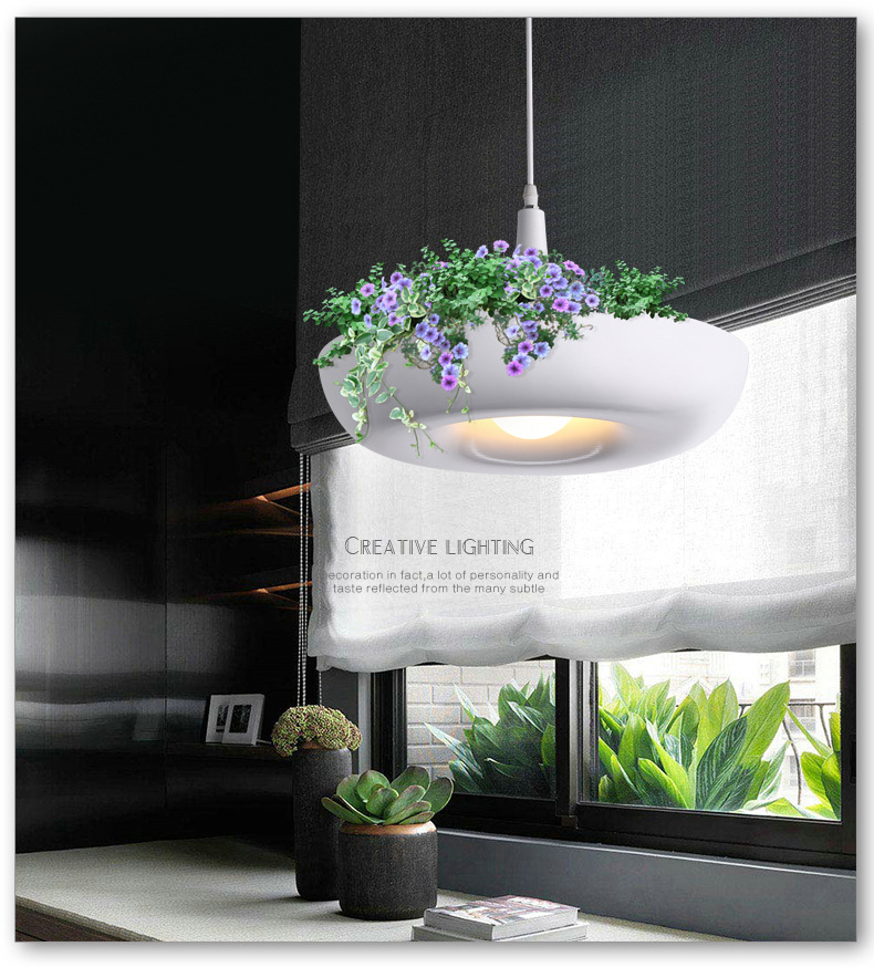 Hanging Gardens of Plants pendant Lamp White flowerpot Lighting Without Plants and Flower handheld waterproof gardens plants flowers soil ph