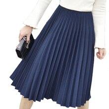 Осенне-зимняя женская юбка, винтажная элегантная плиссированная юбка, женская белая длинная юбка с высокой талией, Женская юбка миди, черная, Saias