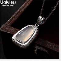 Uglyless Real 999 Fine Silver Natural Chalcedony Women Dress Pendant without Chain Engraved Peacock Jewelry Retro Ethnic Bijoux