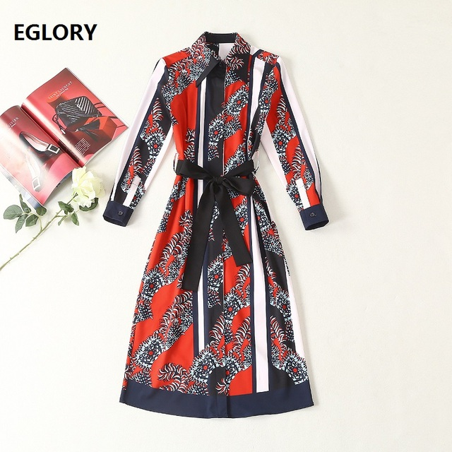 f836db7d1c486 US $57.59 28% OFF|Aliexpress.com : Buy European High Street Dress 2019  Spring Summer Long Shirt Dress Women Turn down Collar Chic Print Long  Sleeve ...