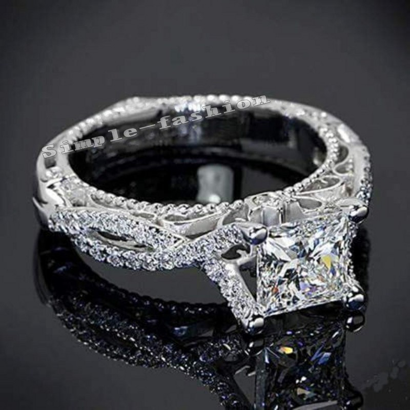 women antique ring princess cut 2ct stone 5a zircon stone cz 925 sterling silver engagement wedding band ring for women