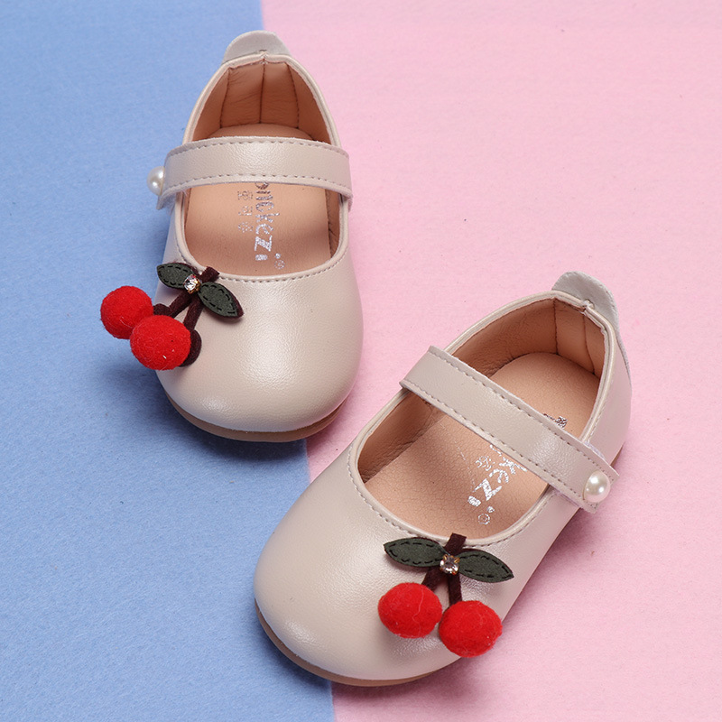 a8563c079 Spring Autumn Children Shoes Girls Princess Shoes For Baby Girl Flats Cherry  Toddlers Shoe Bead White Kids Leather Shoes MCH074