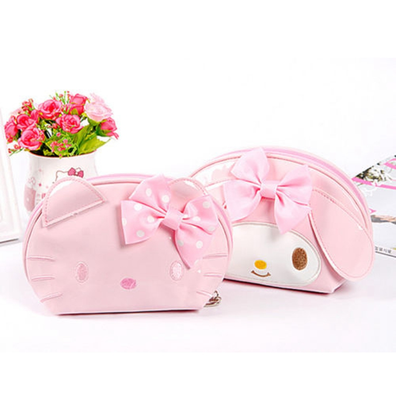 Cartoon Hello Kitty Cosmetic Bag Women Travel PU Leather Zipper Makeup Bag Organizer Make Up Case Storage Pouch Toiletry Bag