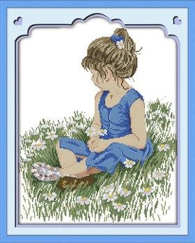 A menina no prado Lona DMC Contados Kits de Ponto Cruz Chinesa impresso ponto-Cruz definir Bordado Costura