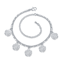 Fashion Jewelry Silver Plated Anklet Factory Price Plated Silver Anklets Vintage Double Layer Five Flowers Anklet Bracelet