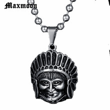 Maxmoon edelstahl Halskette männer Tribal chef schädel punk persönlichkeit hohe qualität schädel Anhänger Halskette schmuck