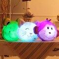 Светящиеся световой свет игрушки обезьяна лягушка cat фаршированные плюшевые игрушки куклы подушка подушка подарок на день рождения