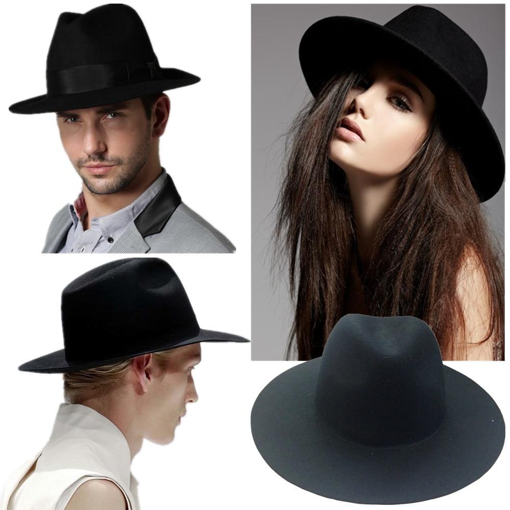 a5a498cf857 Ladies Casual Beach Sun Hat Felt Jazz Floppy Wide Large Brim Cloche panama  Fedora Woolen Cap Retro gangster Hats for women men