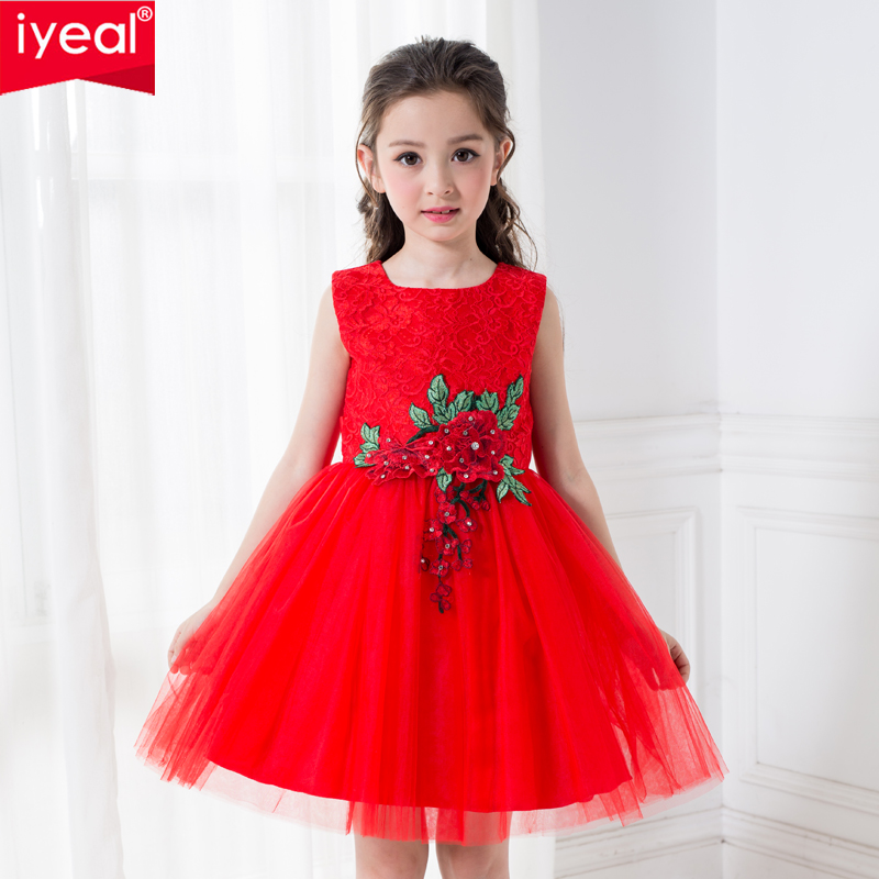 IYEAL Red Children Dresses For Girls Kids Formal Wear Princess Dress For Baby Girl 3-10 Year Birthday Party Clothes high quality baby kids prom gown designs dress 3 8 year birthday dresses sleeveless four layer girl party wear clothes girl vest