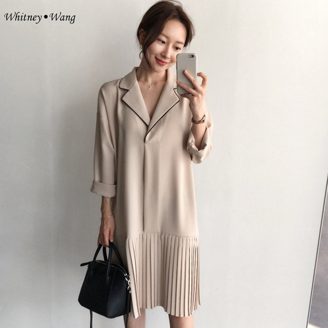 4b6d00ed0e16 WHITNEY WANG Newest 2017 Spring Fashion Korean Style Notched Pleated Chiffon  Dress Women Casual Dress Plus Size