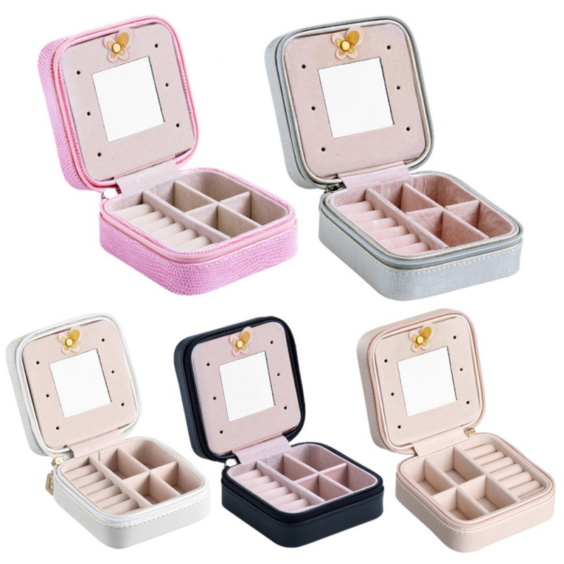 Makeup Box Leather Jewelry Box Case Cosmetics Beauty Organizer Container Boxes Birthday Gift Travel Supplies