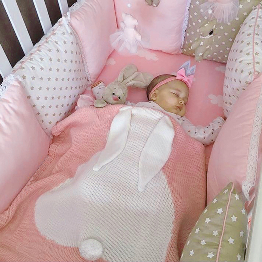 Mantas para bebé, bonita Manta con Orejas de conejo para recién nacidos, manta tejida suave y cálida, Toalla de baño para niños, mantas de cama para bebés