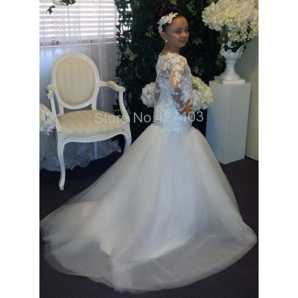 435b5ea179459 New Cute Mermaid Lace Appliques Floor Length First Communion Dress Long  Sleeves for Winter Wedding Mermaid Flower Girl Dress -in Flower Girl Dresses  from ...