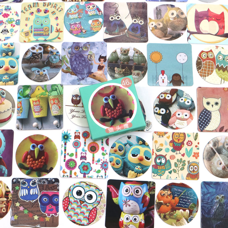 46 pcs/lot Creative Cute Owls Paper Sticker Decoration DIY Ablum Diary Scrapbooking Label Sticker Kawaii Stationery