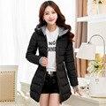 Mujeres Invierno Chaquetas negro azul y rosa largo escudo wadded joven chica caliente de la chaqueta con o con capucha más el tamaño xl-5xl 6xl 3563