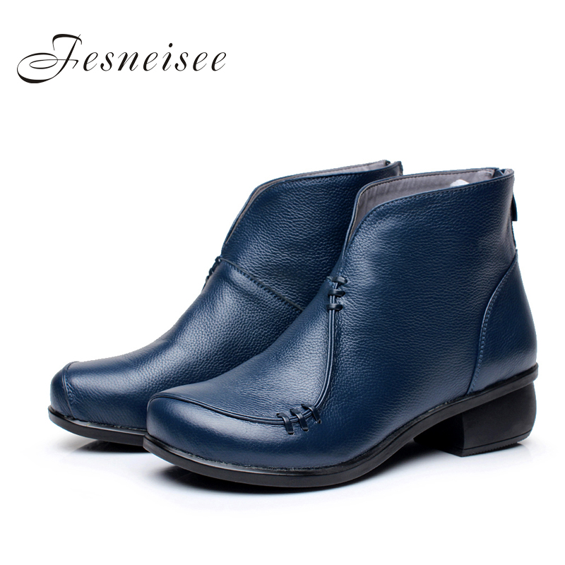 2017 New Autumn lady Winter Square Heels Short Shoes Genuine Leather Boots Back Zipper Women Ankle Boots Size 41-43 for femal