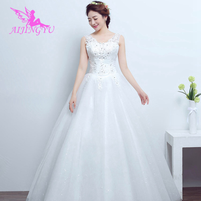 AIJINGYU 2018 Free Shipping New Hot Selling Cheap Ball Gown Lace Up Back Formal Bride Dresses Wedding Dress For Sale FU295