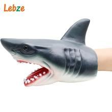 Shark Hand Puppet For Stories Non-toxic Soft Rubber Animal Head Hand Puppet Realistic Shark Model Figure Toy For Children Gift little shark finger puppet book