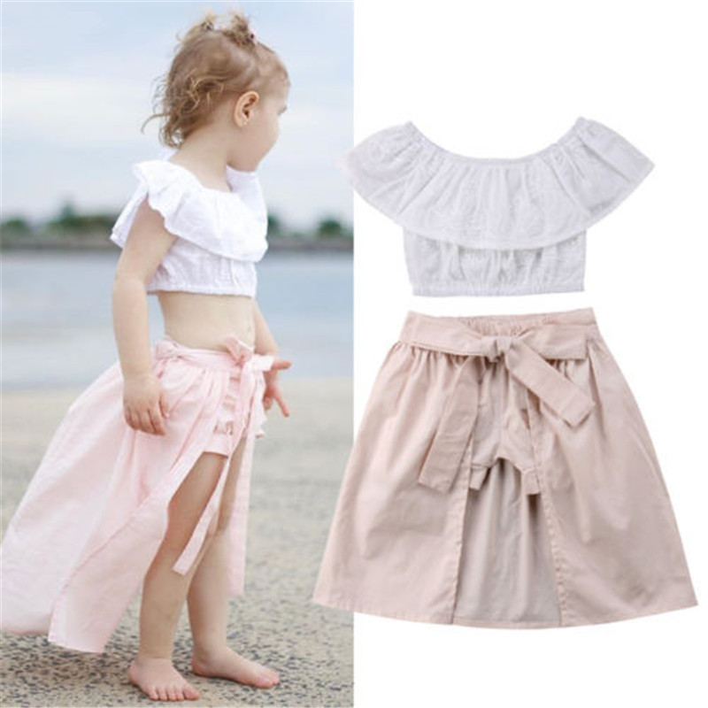 Hot Sale Toddler Kids Baby Girls Clothes Set Sleevless Tops Skirts Shorts Outfits 3Pcs Beach Clothes Set 0-4T