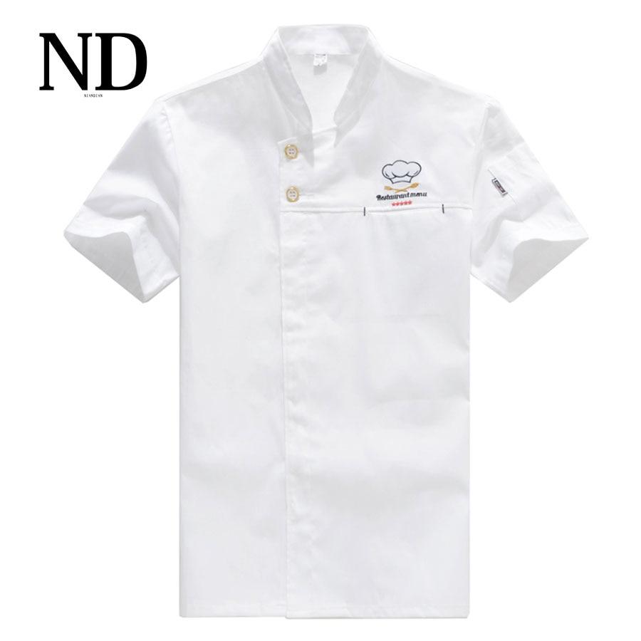 Kockjacka Matservice Kortärmad sommarhotell Kock Uniform Breasted Chef White Clothing