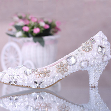Luxurious Elegant Imitation Pearl Wedding Dress Shoes Bridal Shoes Crystal diamond low-heeled shoes Woman Lady Dress Shoes