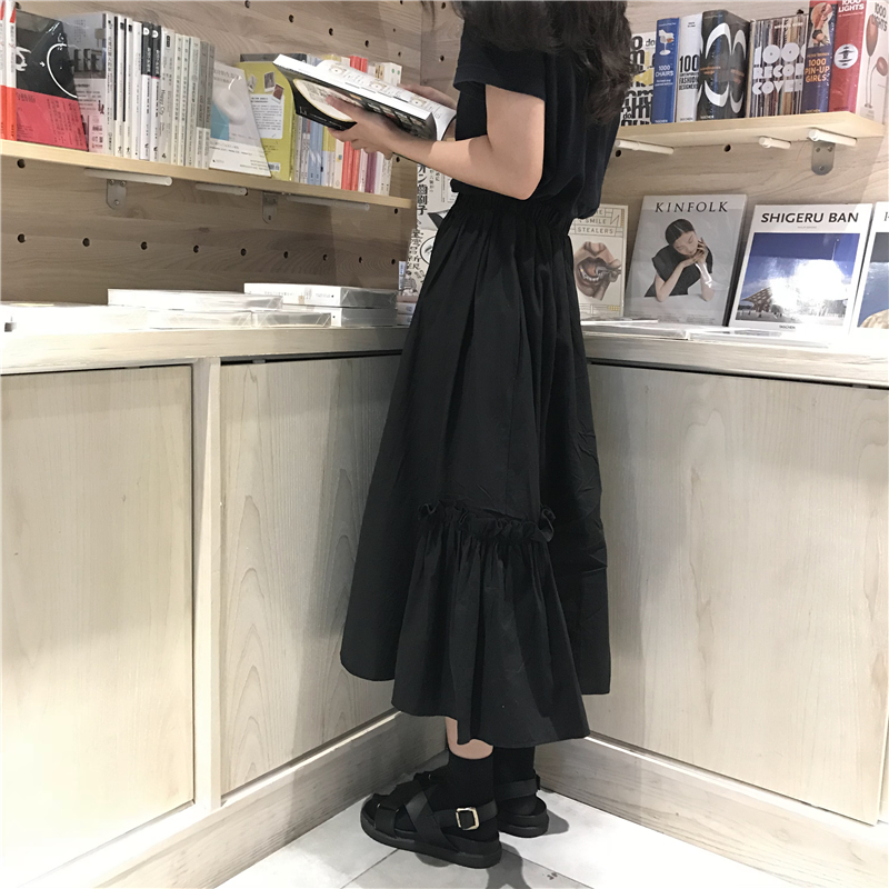 2018 autumn solid color high waist long skirts pleate midi womens  (L385)